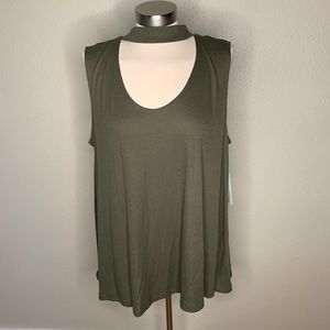 NWT green open front tank top
